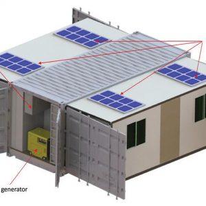 El contenedor - abierto: Paneles solares, Unidad de acondicionamiento de aire externa, General diésel