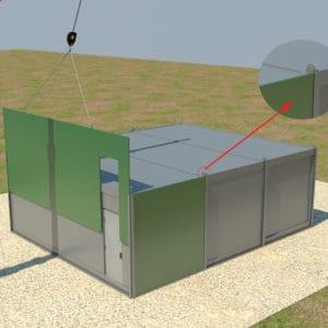 Un sistema de encastre único es utilizado para colocar las paredes fortificadas en su lugar