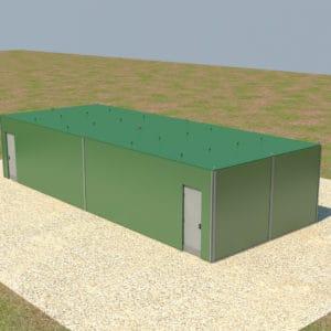 Las paredes protectoras son encastradas en su lugar utilizando un sistema único de encastre con un techo también fortificado